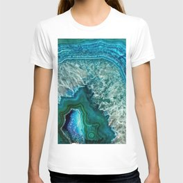 Aqua turquoise agate mineral gem stone - Beautiful Backdrop T-shirt