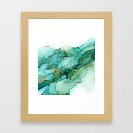 Emerald Gold Waves Abstract Ink Framed Art Print