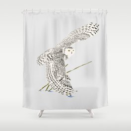 The snowy owl in flight with his wing touching the snow Shower Curtain