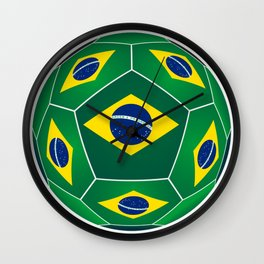Soccer ball with Brazilian flag Wall Clock