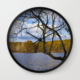 Autumn at Hall Lake by Yankee Springs in Michigan Wall Clock