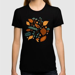 Fall Foliage in Yellow, Terracotta, and Blue T-shirt