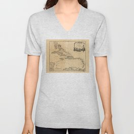 Map of the West Indies (1758) Unisex V-Neck