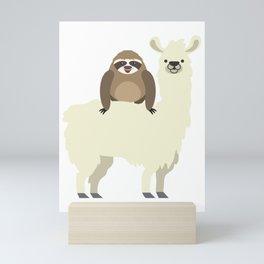 Cute & Funny Sloth Riding Llama Mini Art Print