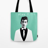 arctic monkeys Tote Bags featuring Arctic Monkeys, Alex Turner by Morgane Dagorne
