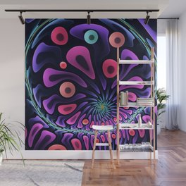 Color splashes in motion, fractal abstract Wall Mural