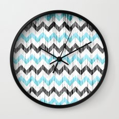 Grunge Chevron black/white/cyan Wall Clock
