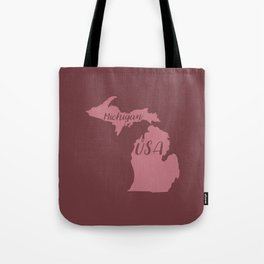 Michigan, USA Outline in Rich Pinks Tote Bag