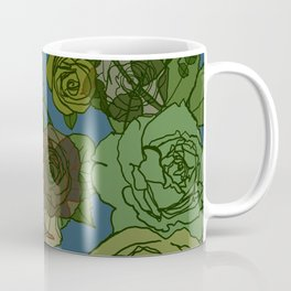 Roses Illustration in Green and Blue Coffee Mug
