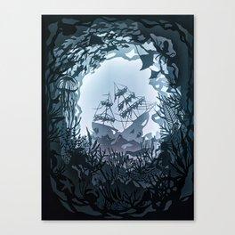 Underwater Shiwreck Papercut Canvas Print