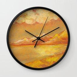 Orange hot sunset landscape with dunes and lake Wall Clock