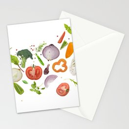 fresh vegetables, herbs and spices isolated on white background Stationery Cards