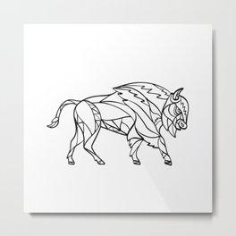 Bison Side Mosaic Black and White Metal Print