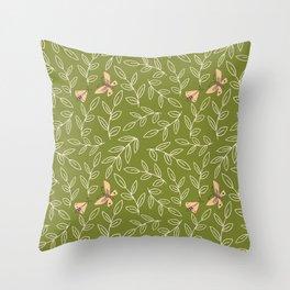 Leaves & Moths Throw Pillow