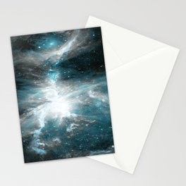 Orion Nebula Teal Gray Galaxy Stationery Cards