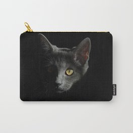 Cat Animals Portrait Of Cat Face Black Carry-All Pouch