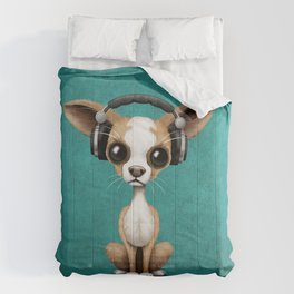 Cute Chihuahua Puppy Dog Wearing Headphones on Blue Comforters