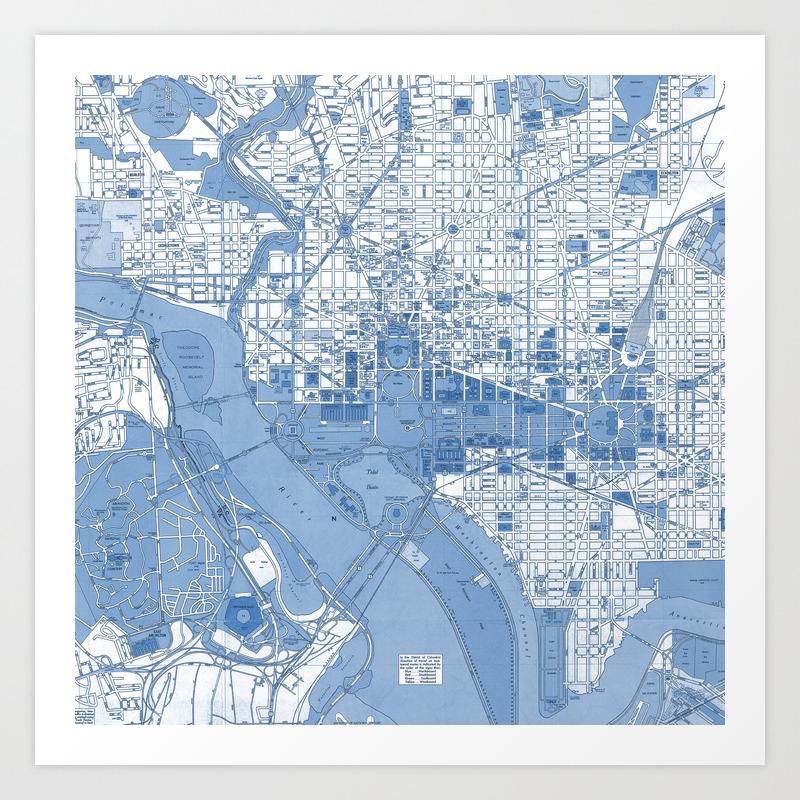 Washington Dc Map Art Print By Colorandform Society6