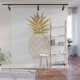 pink & gold pineapple Wall Mural