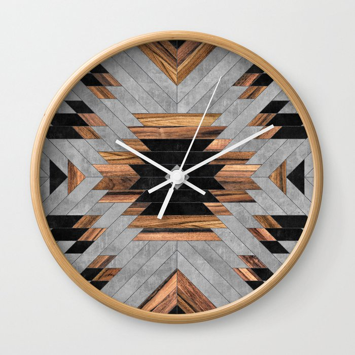 Urban Tribal Pattern No.6 - Aztec - Concrete and Wood Wall Clock