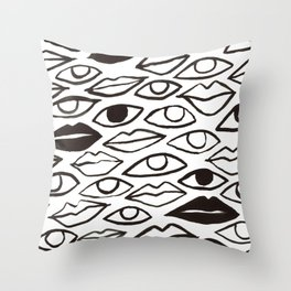 Lips and Eyes in Black and White Throw Pillow