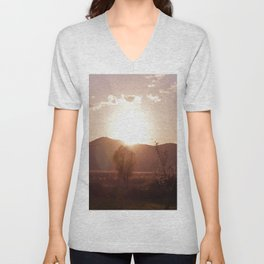 sunset in the meadow Unisex V-Neck