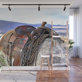 Horse with saddle in nature Wall Mural