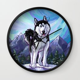 Animal Parade Husky Wall Clock