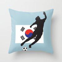 korea Throw Pillows featuring Korea Republic - WWC by Alrkeaton