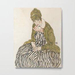 Egon Schiele - Edith with Striped Dress, Sitting Metal Print