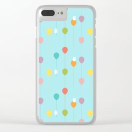 Fluffy bunnies and the rainbow balloons pattern Clear iPhone Case