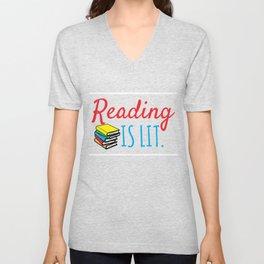 Reading Gift Reading Is Lit ELA Literacy Teacher Student Books Unisex V-Neck