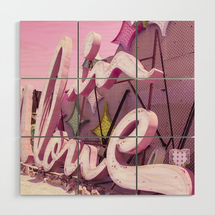 """Pink """"In Love"""" Sign at the Neon Museum in Las Vegas, Nevada Wood Wall Art"""