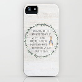 Moms Love w/Weathered wood background iPhone Case