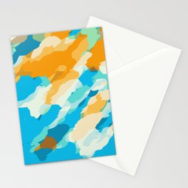 blue orange and brown dirty painting abstract background Stationery Cards