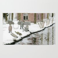 toddler Area & Throw Rugs featuring Children Building A Snowman by Yuliya