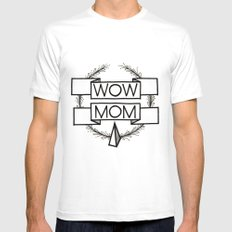WOW MOM White Mens Fitted Tee MEDIUM