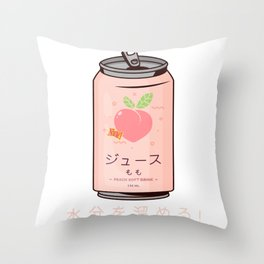 90s Japanese Aesthetic Peach Juice Can Aesthetic design Throw Pillow
