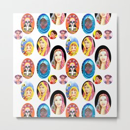 Ethnic Girls Hand Painted Pattern Metal Print