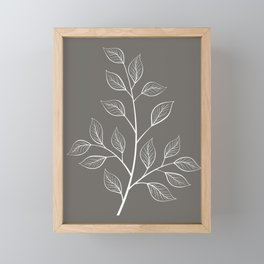 White and Gray Branch and Leaves Framed Mini Art Print