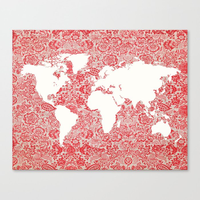 Floral world map canvas print by istriadesign society6 floral world map canvas print gumiabroncs Images