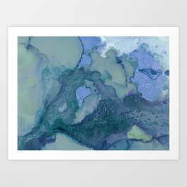 Ink in Blue and Green Art Print