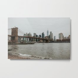 Skyline with Brooklyn Bridge from Pebble Beach | Colourful Travel Photography | New York City, America (USA) Metal Print