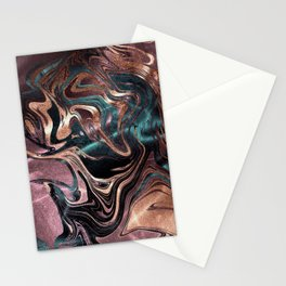 Metallic Rose Gold Marble Swirl Stationery Cards