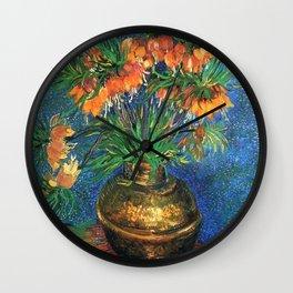 Vincent Van Gogh Frittilaries in Copper Vase 1887 Wall Clock