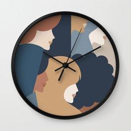 Girl Power portrait - we persist - Earthy #girlpower Wall Clock