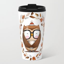 Fall Ready Owl- Illustration Travel Mug