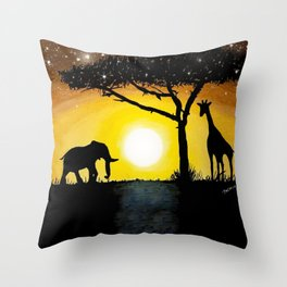 Sunset in Africa Throw Pillow