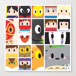 World of Ghibli Blocks Canvas Print