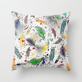 Feathers and Splats Throw Pillow